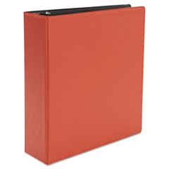 "Economy Non-View Round Ring Binder, 3"" Capacity, Red"