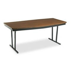 Economy Conference Folding Table, Boat, 72w x 36d x 30h, Walnut/Black