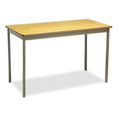 Utility Table, Rectangular, 48w x 24d x 30h, Oak/Brown