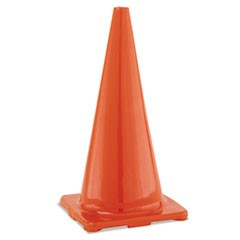 "Hi-Visibility Vinyl Cones, 28"" Tall, Orange"