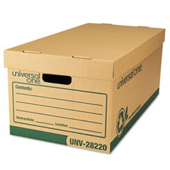 Recycled Heavy-Duty Record Storage Box, Letter Files, Kraft/Green, 12/Carton