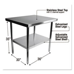 Stainless Steel Table, 36 x 30 x 35, Silver