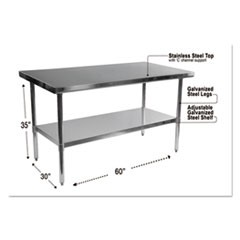Stainless Steel Table, 60 x 30 x 35, Silver