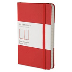Hard Cover Notebook, Narrow Rule, Red Cover, 5.5 x 3.5, 192 Sheets