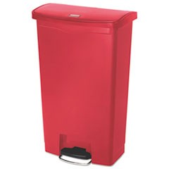 Slim Jim Resin Step-On Container, Front Step Style, 18 gal, Red