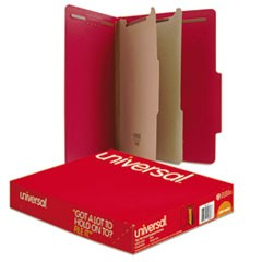 Pressboard Classification Folders, Letter, Six-Section, Ruby Red, 10/Box