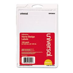Plain Self-Adhesive Name Badges, 3 1/2 x 2 1/4, White, 100/Pack