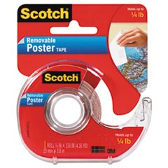 "Wallsaver Removable Poster Tape, 1"" Core, 0.75"" x 12.5 ft, Clear"