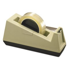 "Heavy-Duty Weighted Desktop Tape Dispenser, 3"" Core, Plastic, Putty/Brown"
