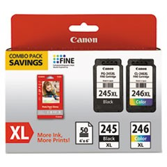 8278B005 (PG-245XL/CL-246XL) Ink & Paper Combo Pack, Black/Tri-Color