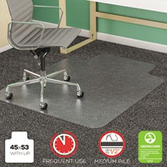 SuperMat Frequent Use Chair Mat, Medium Pile Carpet, Beveled, 45x53 w/Lip, Clear