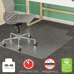 SuperMat Frequent Use Chair Mat, Med Pile Carpet, Flat, 36 x 48, Lipped, Clear