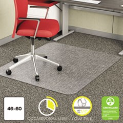 EconoMat Occasional Use Chair Mat, Low Pile Carpet, Flat, 46 x 60, Rectangle, Clear