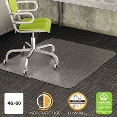 DuraMat Moderate Use Chair Mat, Low Pile Carpet, Flat, 46 x 60, Rectangle, Clear