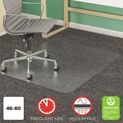 SuperMat Frequent Use Chair Mat, Med Pile Carpet, Flat, 46 x 60, Rectangle, CR