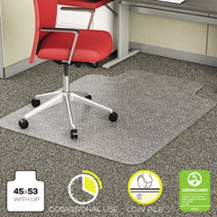 Deflecto Economat Occasional Use Chair Mat For Low Pile Carpet, 45 X 53, Wide Lipped, Clear