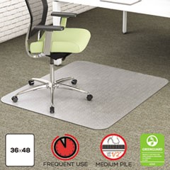 EnvironMat Recycled Anytime Use Chair Mat for Med Pile Carpet, 36 x 48, Clear