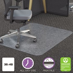 Deflecto Polycarbonate All Day Use Chair Mat - All Carpet Types, 36 X 48, Rectangular, Clear