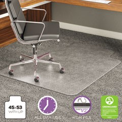 ExecuMat All Day Use Chair Mat for High Pile Carpet, 45 x 53, Wide Lipped, Clear