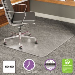 ExecuMat Intense All Day Use Chair Mat for High Pile Carpet, 60 x 60, Clear