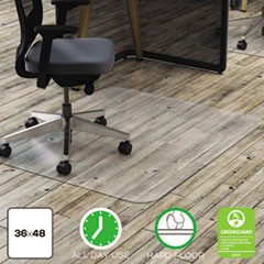 Polycarbonate All Day Use Chair Mat for Hard Floors, 36 x 48, Rectangular, Clear