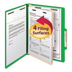 Colored Top Tab Classification Folders, 1 Divider, Letter Size, Green, 10/Box