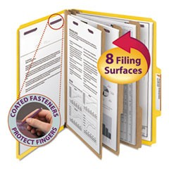 Eight-Section Pressboard Top Tab Classification Folders w/ SafeSHIELD Fasteners, 3 Dividers, Letter Size, Yellow, 10/Box