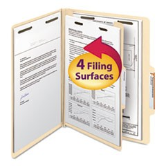 Manila Four- and Six-Section Top Tab Classification Folders, 1 Divider, Letter Size, Manila, 10/Box