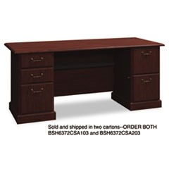 "72""W Double Ped Desk (B/B/F, F/F) Box 1 of 2 Syndicate, Harvest Cherry"