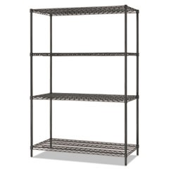 All-Purpose Wire Shelving Starter Kit, 4-Shelf, 48 x 24 x 72, Black Anthracite+