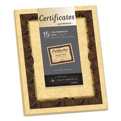 Foil-Enhanced Parchment Certificate, Brown w/Brown/Gold Foil, 8 1/2 x 11, 15/PK