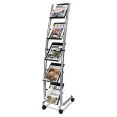 Mobile Literature Display, 13.38w x 20.13d x 65.38h, Silver Gray/Black