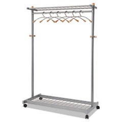 Garment Racks, Two-Sided, 2-Shelf Coat Rack, 6 Hanger/6 Hook, Silver Steel/Wood