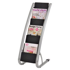 Literature Floor Rack, 6 Pocket, 13.33w x 19.67d x 36.67h, Silver Gray/Black