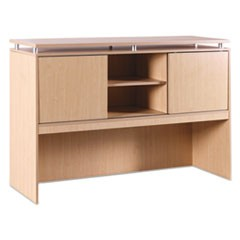 Alera Sedina Series Hutch with Sliding Doors, 66w x 15d x 42 1/2h, Maple