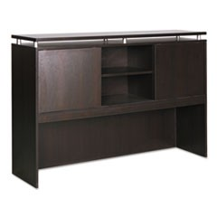 Alera Sedina Series Hutch with Sliding Doors, 66w x 15d x 42.5h, Espresso