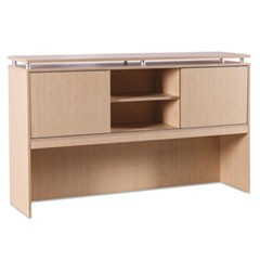 Alera Sedina Series Hutch with Sliding Doors, 72w x 15d x 42 1/2h, Maple