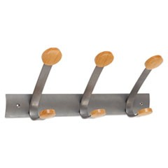 Wooden Coat Hook, Three Wood Peg Wall Rack, Brown/Silver