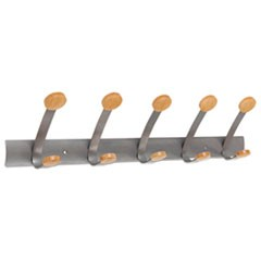 Alba Wooden Coat Hook, Five Wood Peg Wall Rack, Brown/Silver