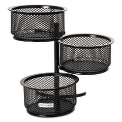 3 Tier Wire Mesh Swivel Tower Paper Clip Holder, 3 3/4 x 6 1/2 x 6, Black