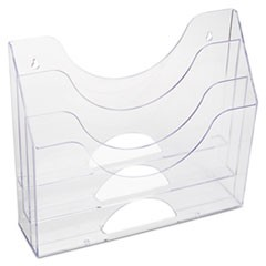 "Optimizers Multifunctional Three-Pocket File Folder Organizer, 3 Sections, Letter Size Files, 13"" x 3.5"" x 11.5"", Clear"