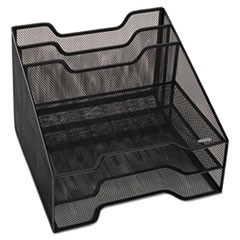 "Mesh Tray Sorter Combo, 5 Sections, Letter Size Files, 12.5"" x 11.5"" x 9.5"", Black"