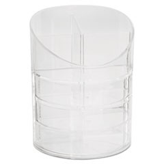 Small Storage Divided Pencil Cup, Plastic, 4 1/2 dia. x 5 11/16, Clear