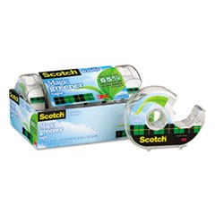 Scotch Magic Greener Tape With Dispenser, 1  Core, 0.75  X 50 Ft, Clear, 6/Pack