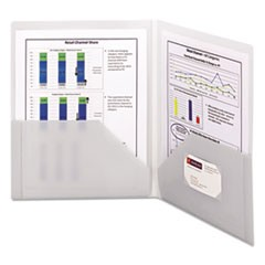 Smead Frame View Poly Two-Pocket Folder, 11 X 8 1/2, Clear/Oyster, 5/Pack