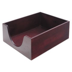 "Double-Deep Hardwood Stackable Desk Trays, 1 Section, Legal Size Files, 10.13"" x 12.63"" x 5"", Mahogany"