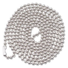 "ID Badge Holder Chain, Ball Chain Style, 36"" Long, Nickel Plated, 100/Box"