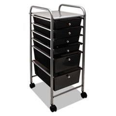 Portable Drawer Organizer, 13w x 15.38d x 32.13h, Smoke/Matte Gray