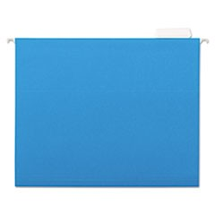 Deluxe Bright Color Hanging File Folders, Letter Size, 1/5-Cut Tab, Blue, 25/Box