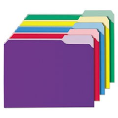 Recycled Interior File Folders, 1/3 Cut Top Tab, Letter, Assorted, 100/Box